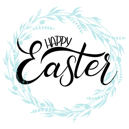 Happy Easter colorful lettering. Hand written Easter phrases. Seasons Greetings