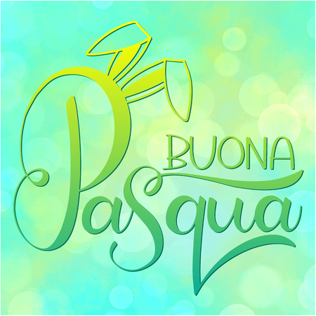Buona Pasqua colorful lettering. Happy Easter colorful lettering in Italian.