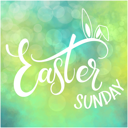 Happy Easter Sunday colorful lettering. Hand written Easter phrases. Seasons Greetings Ilustração