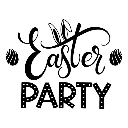 Easter Party lettering. Hand written Easter phrases. Seasons Greetings