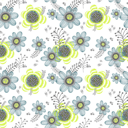 Floral seamless spring pattern. Hand drawn endless texture. Flat design. Used for wallpaper, textile, website design.