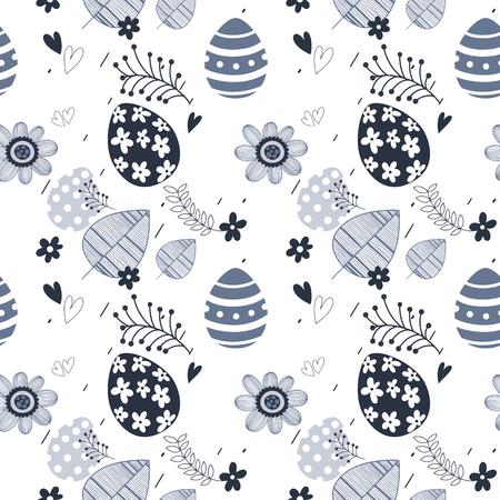Easter seamless floral pattern. Hand drawn endless floral texture. Flat design. Used for wallpaper, textile, website design. Иллюстрация