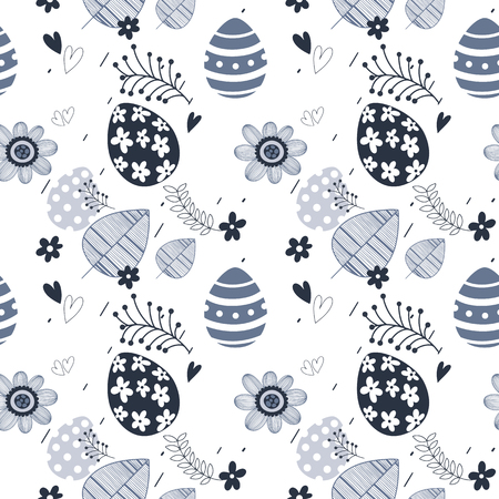 Easter seamless floral pattern. Hand drawn endless floral texture. Flat design. Used for wallpaper, textile, website design. Vettoriali