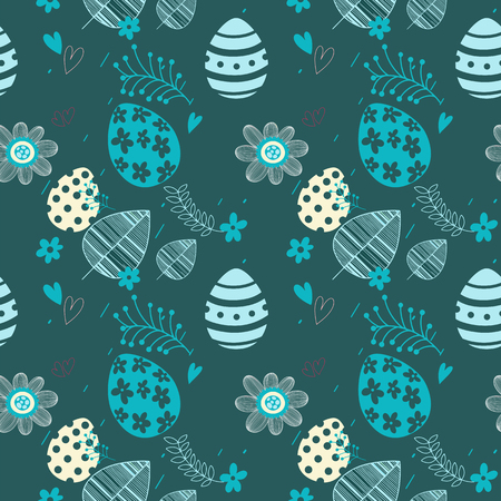 Easter seamless floral pattern. Hand drawn endless floral texture. Flat design. Used for wallpaper, textile, website design. Illustration