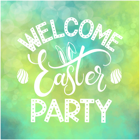 Easter Party colorful lettering. Hand written Easter phrases. Seasons Greetings