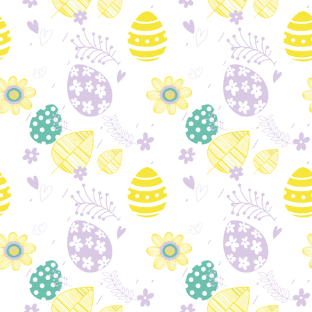 Easter seamless floral pattern. Hand drawn endless floral texture. Flat design. Used for wallpaper, textile, website design. Иллюстрация