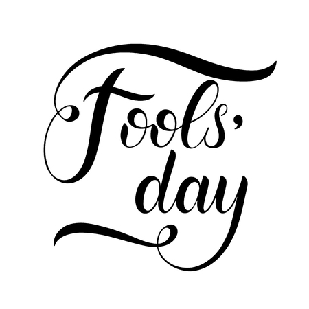 April Fools Day text. Colorful lettering. Hand lettering greeting card.