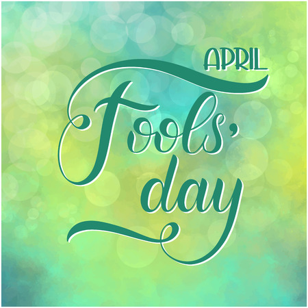 April Fools Day text. Colorful lettering. Hand lettering greeting card Illustration