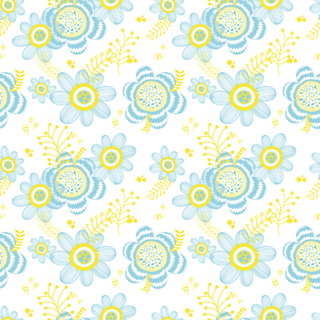 Floral seamless spring pattern. Hand drawn endless texture. Flat design.