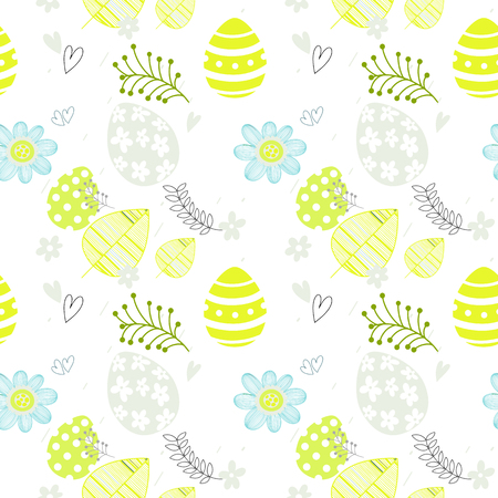 Easter seamless floral pattern. Hand drawn endless floral texture. Flat design.