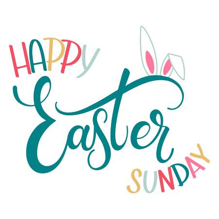 Feliz Domingo de Pascua letras coloridas. Frases de Pascua escritas a mano. Felices Fiestas