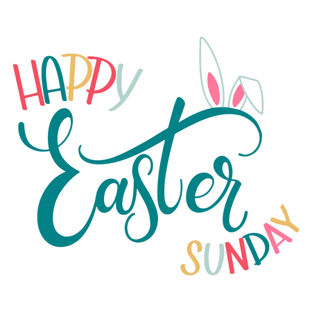 Happy Easter Sunday colorful lettering. Hand written Easter phrases. Seasons Greetings Иллюстрация