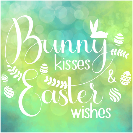 Bunny kisses and Easter Wishes lettering. Happy Easter colorful lettering. Hand written Easter phrases. Seasons Greetings Banco de Imagens - 97420177