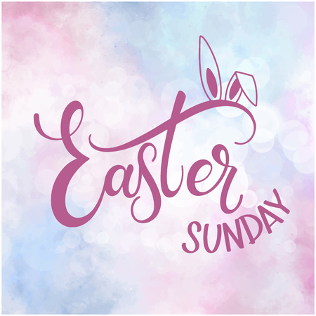 Happy Easter Sunday colorful lettering. Hand written Easter phrases. Seasons Greetings Illustration