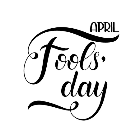 April Fools Day text. Colorful lettering. Hand lettering greeting card 일러스트