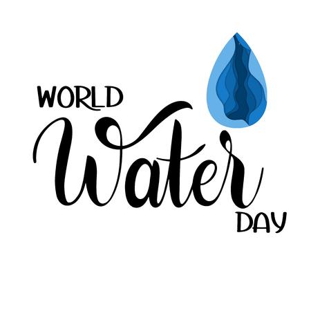Letras del Día Mundial del Agua, guardar la ilustración del concepto de agua. Ilustración de vector