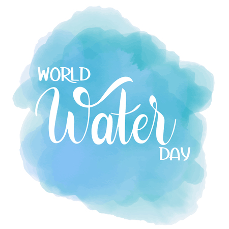 World Water Day lettering, save the water concept illustration.