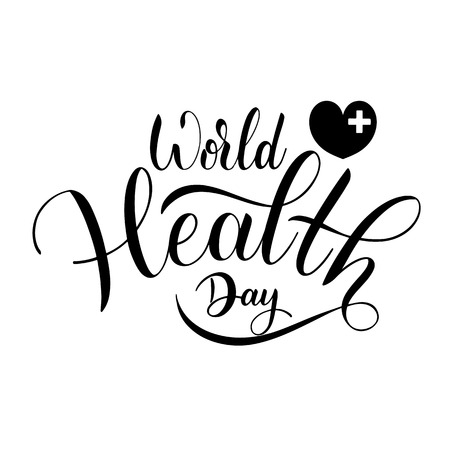 World Health Day Text. Hand Drawn Lettering. Typographical Design Ilustração