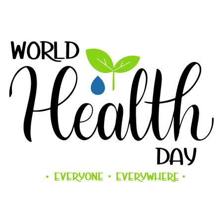 World Health Day Text. Hand Drawn Lettering. Typographical Dsign Ilustracja