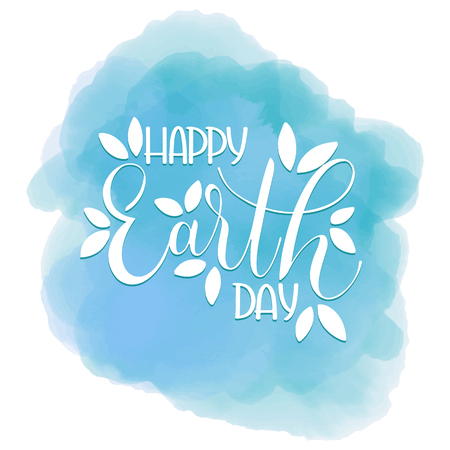 Happy Earth Day Lettering Hand Drawn Text vector 일러스트