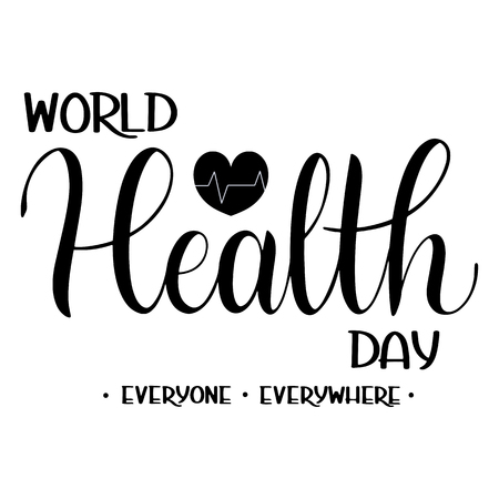 World Health Day Text Hand Drawn Lettering vector