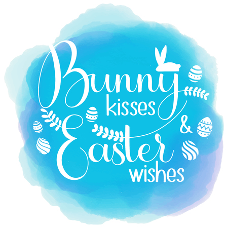 Bunny kisses and Easter Wishes lettering vector Banco de Imagens - 97619737