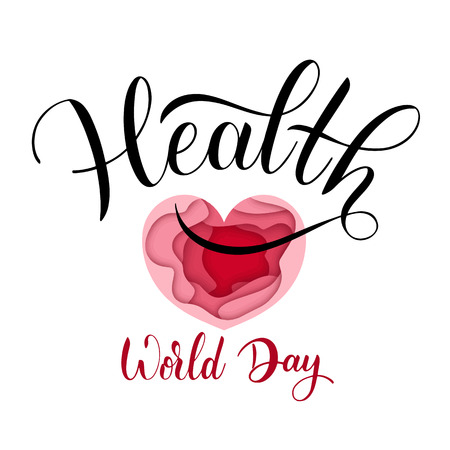 World Health Day Text. Hand Drawn Lettering. Typographical Dsign Ilustração