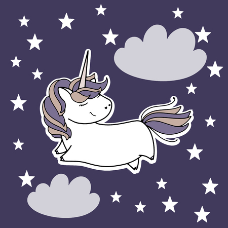 Unicorn in the sky cute vector illustration. Card and shirt design.