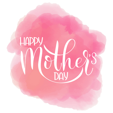 Happy mother Day lettering. Greeting Card Design. Hand Drawn Text on cloud background