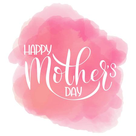 Gelukkige moederdag belettering. Wenskaart ontwerp. Hand getrokken tekst op wolk achtergrond