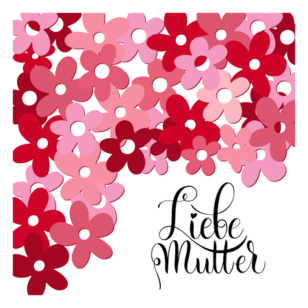 Floral happy mother day lettering in German image illustration