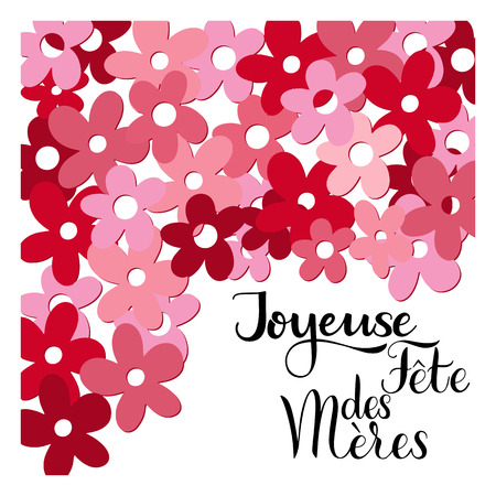 Floral happy mother day lettering in French image illustration Illustration