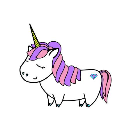 Unicorn cute vector illustration. Card and shirt design. Illusztráció