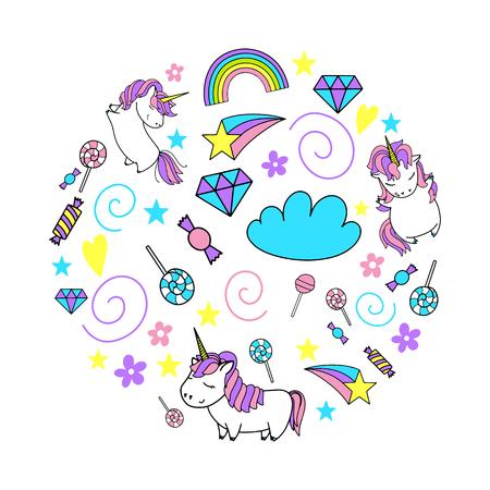 Unicorn cute vector illustration set. Card and shirt design.
