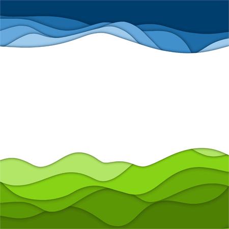 Resumen papercut fondo verde y azul para usted diseño Foto de archivo - 97985869