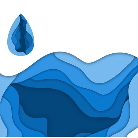 Agua con fondo de papel cortado para su diseño Foto de archivo - 97837609