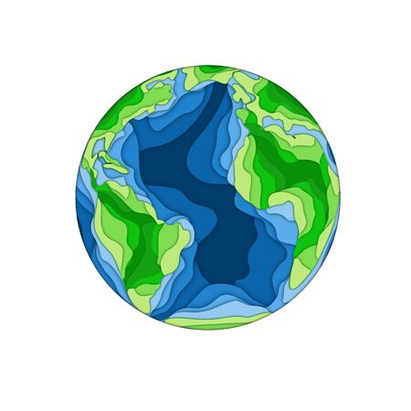 Earth papercut background for you design. Green and blue color Foto de archivo - 97837610