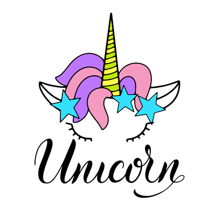 Unicorn cute vector lettering and illustration. Card, poster and t-shirt design. 向量圖像