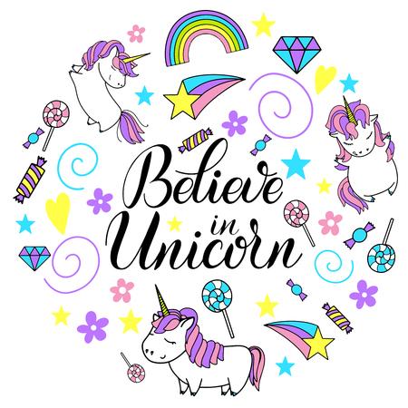 ユニコーン、虹やお菓子の円形のデザインでユニコーンの文字を信じてください。