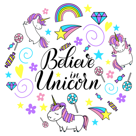 Believe in unicorns lettering with circular design of unicorns, rainbows and sweets.