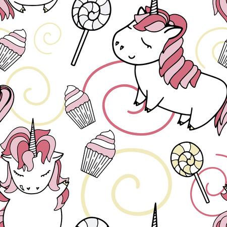 Unicorn vector seamless pattern with cakes and sweets.