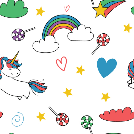 Unicorn and different items illustration