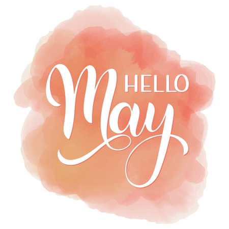 Hello May greeting on pink-colored background