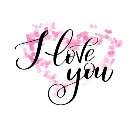 I LOVE you greeting text with pink bokeh flower, Calligraphic love lettering