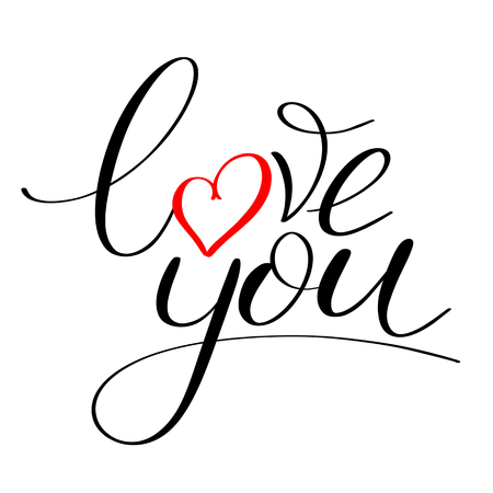 Love you with red heart text, Calligraphic love lettering