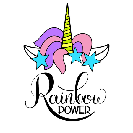 Unicorn cute vector lettering and illustration. Rainbow power design.