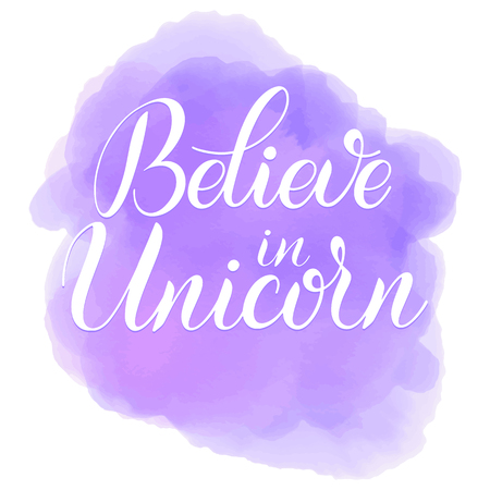 Unicorn cute vector lettering and illustration. Believe in unicorns lettering. Card, poster and t-shirt design.