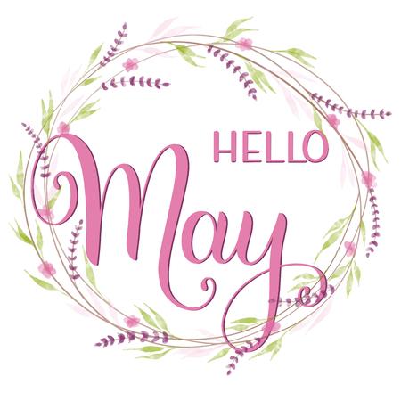 Bonjour lettrage de mai. Éléments pour invitations, affiches, cartes de voeux. Salutations des saisons Vecteurs