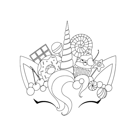 Unicorn cute vector illustration. Head with candy and cupcake. Card and shirt design. template vector illustration Vectores
