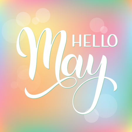 Hello May lettering. Elements for invitations, posters, greeting cards. Seasons Greetings Vector illustration.